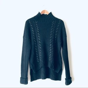 Express Chunky Turtleneck Sweater w/ Leather Knit